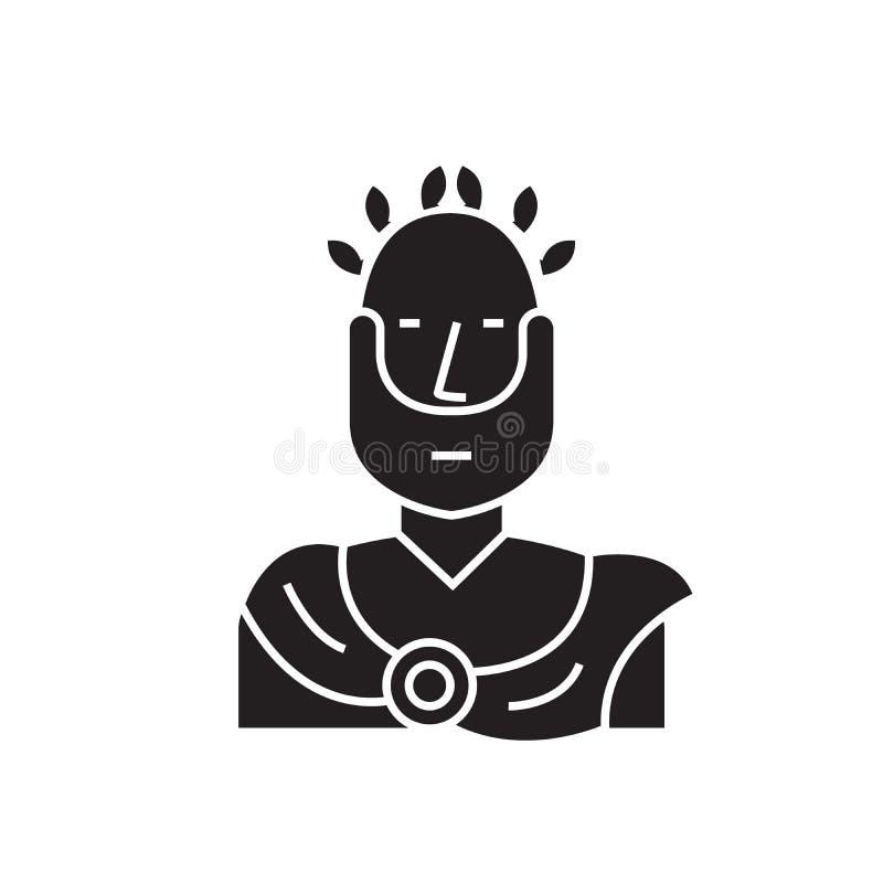 罗马皇帝黑色传染媒介概念象 罗马皇帝平的例证,标志 皇族释放例证
