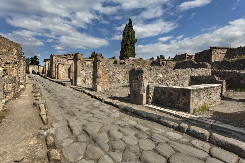 罗马街道在庞贝城,意大利 库存照片