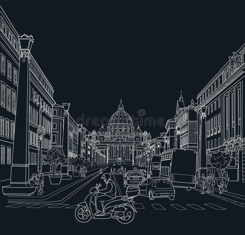 罗马街道的剪影  皇族释放例证