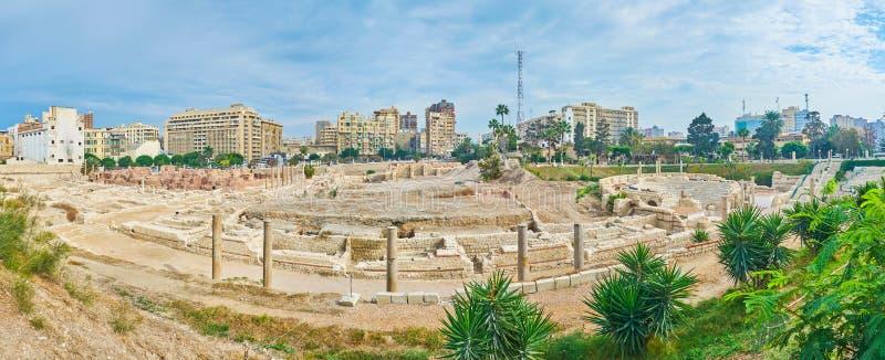 罗马观众席,考姆广告Dikka亚历山大,埃及全景  库存图片