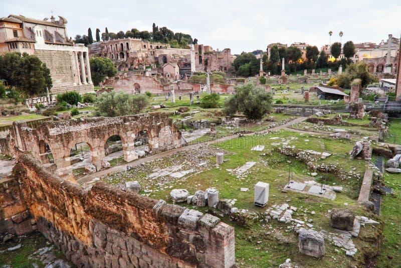 罗马论坛,意大利废墟  库存照片
