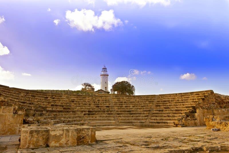 罗马遗产站点在帕福斯,塞浦路斯。 库存图片