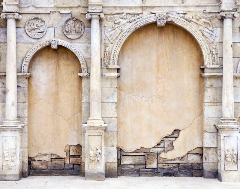 罗马风格葡萄酒墙壁 免版税库存照片