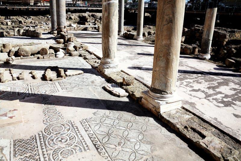 罗马马赛克, Agia Kyriaki教会,帕福斯,塞浦路斯 库存照片