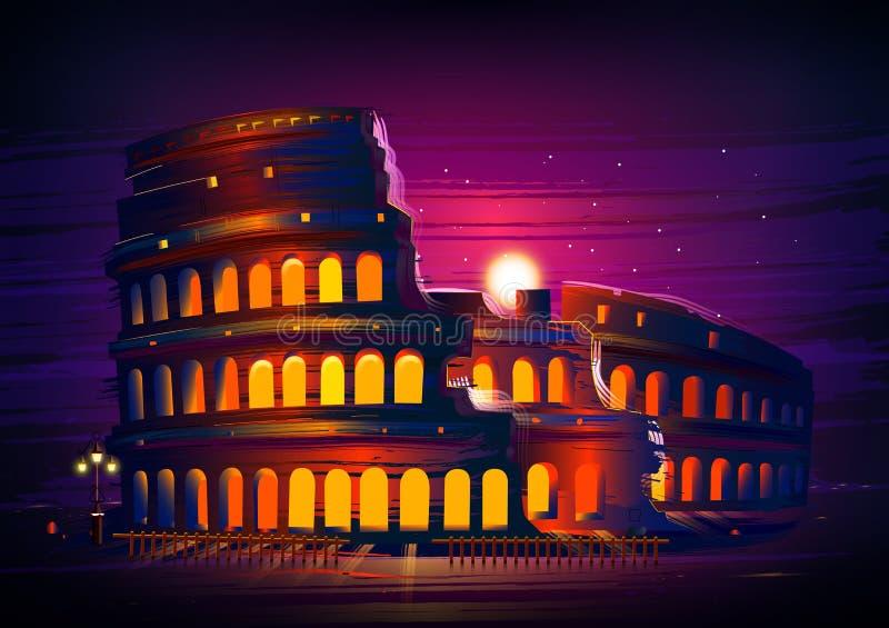 罗马,意大利的罗马罗马斗兽场举世闻名的历史纪念碑 向量例证