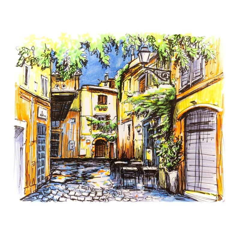 罗马,意大利风景城市视图  库存例证