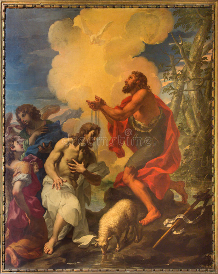 罗马,意大利:绘-基督洗礼在教会里在教会基耶萨di圣西尔韦斯特罗里在Capite和圣灵教堂  库存图片