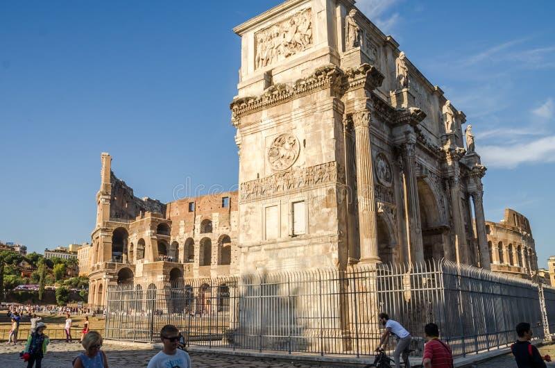罗马,意大利- 2017年7月:康斯坦丁凯旋门在罗马,意大利 免版税图库摄影