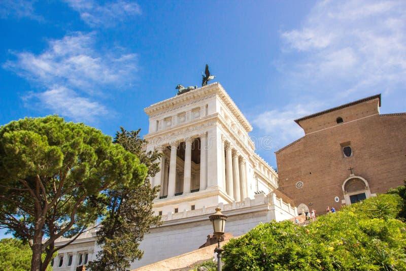 罗马,意大利- 2017年9月12日:对胜者伊曼纽尔的国家历史文物II在罗马 emanuele ii ponte vittorio 免版税库存照片