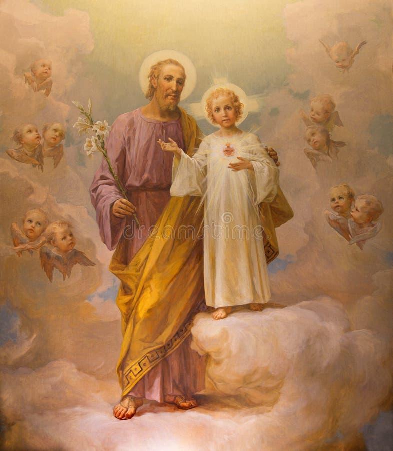 罗马,意大利- 2016年3月12日:圣约瑟夫油漆由E的 在教会基耶萨di Nostra夫人del Sacro Cuore的Ballerini 1941年 免版税库存照片