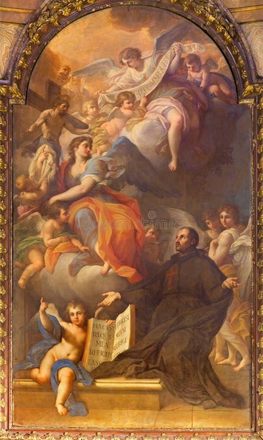 罗马,意大利- 2016年3月9日:玛丹娜和Crucified Christin教会基耶萨二圣玛丽亚马达莱纳半岛的St Camillus视觉 免版税库存图片