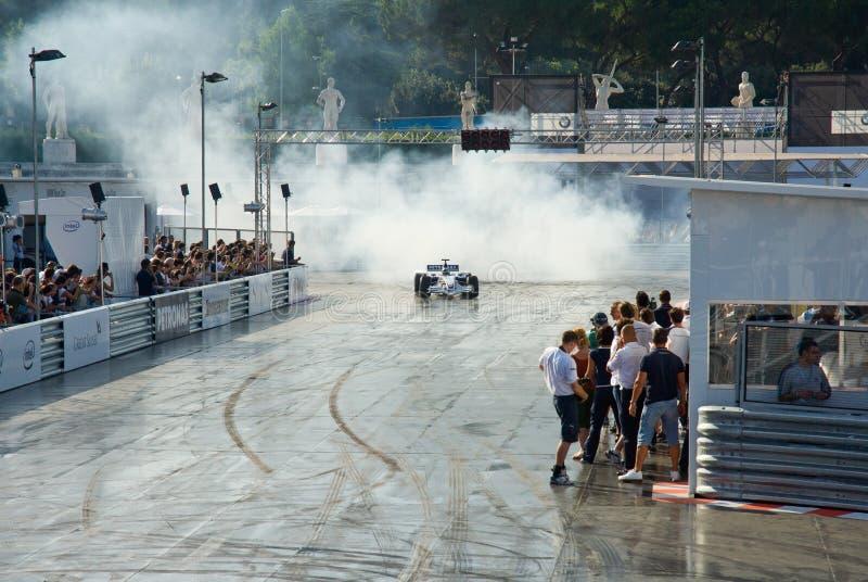 罗马,意大利- 2007年6月23日 惯例1有塞巴斯蒂安的Sauber Bmw 免版税库存照片