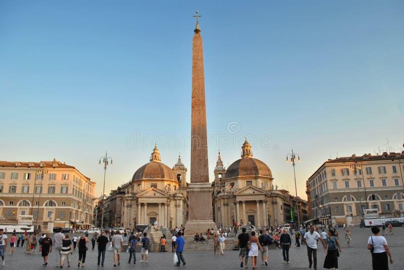 piazza del Popolo在罗马 库存照片