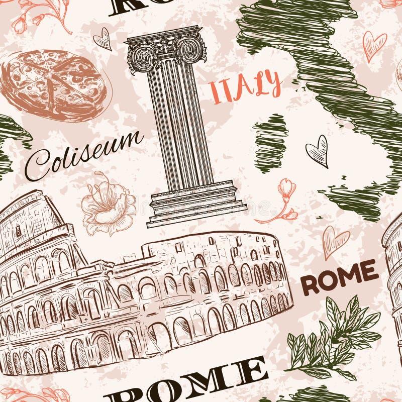 罗马 与大剧场,意大利地图、经典样式专栏和花的葡萄酒无缝的样式在难看的东西背景 皇族释放例证
