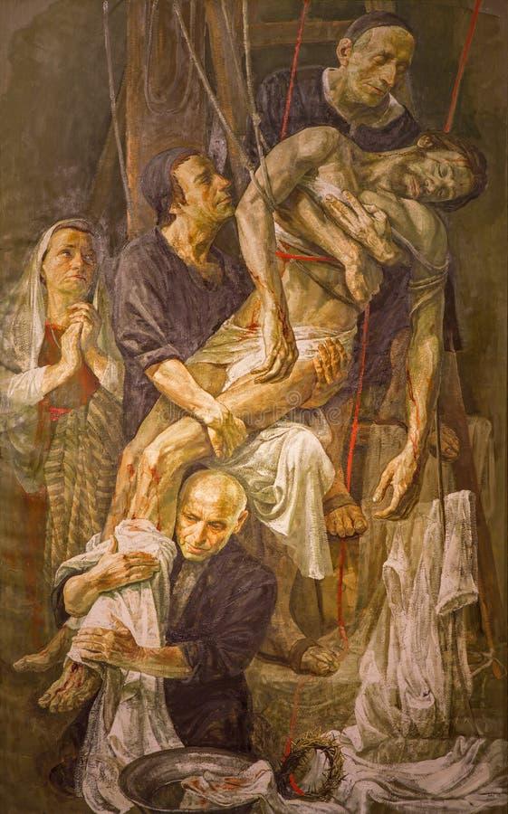 罗马-十字架的证言现代绘画由Venezian艺术家Safet Zec的2014年 图库摄影