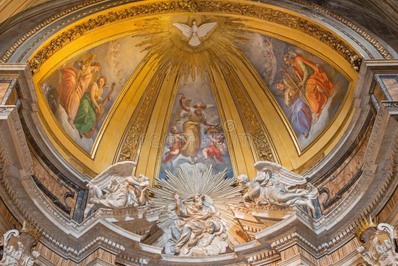 罗马-圣父大理石雕塑在维拉诺瓦礼拜堂的托马斯在Basilica di Sant阿戈斯蒂诺(奥古斯汀) 图库摄影