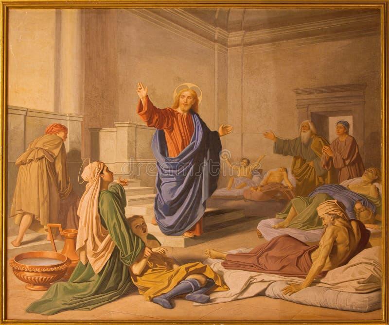 罗马-在愈合的壁画基督在教会由unkown艺术家的Basilica di Sant安德里亚della瓦尔礼拜堂里19 分 免版税库存照片