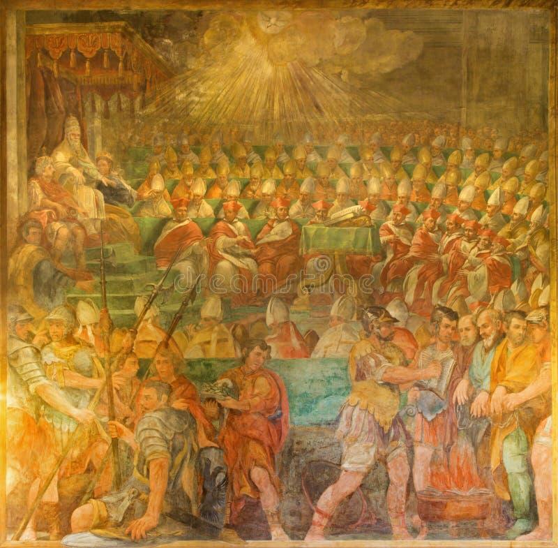 罗马-教皇宗教会议的Sylvester Presiding 324在教会基耶萨di圣马蒂诺ai Monti里 图库摄影