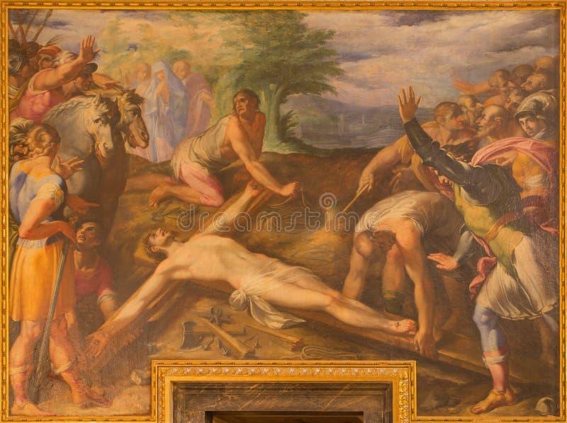 罗马-油漆耶稣细节被钉牢对十字架在教会基耶萨del Jesu里由Gaspare Celio在教会基耶萨del Jesu里 免版税库存照片