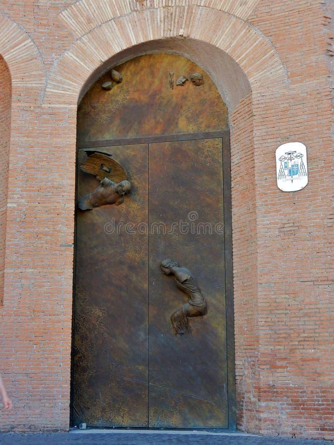 罗马-波尔塔圣玛丽亚degli Angeli和受难者della大教堂  免版税库存图片