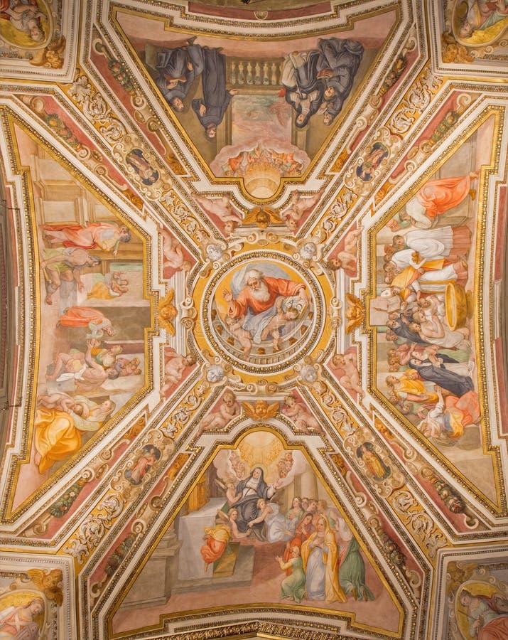 罗马-由G的天花板壁画 B Ricci (1585)在教会基耶萨di圣st莫妮卡阿戈斯蒂诺和教堂里  免版税库存照片