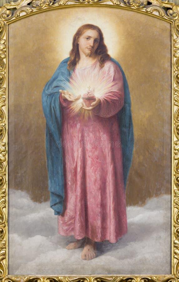 罗马-耶稣Christi油漆的心脏在教会基耶萨二圣玛丽亚由T的ai Monti的 Tarenghi (1910) 免版税库存照片