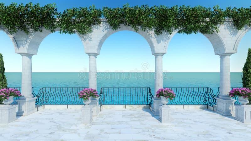 罗马3D回报经典海视图大阳台anceint样式正面图 库存例证