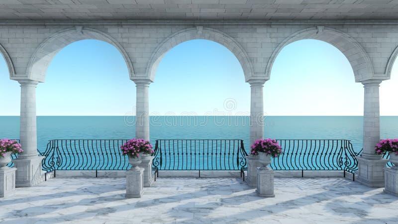 罗马3D回报经典海视图anceint样式正面图 库存例证