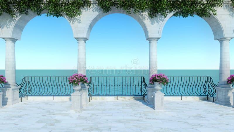 罗马3D回报设计经典之作放松浪漫经典海视图大阳台anceint样式正面图 皇族释放例证