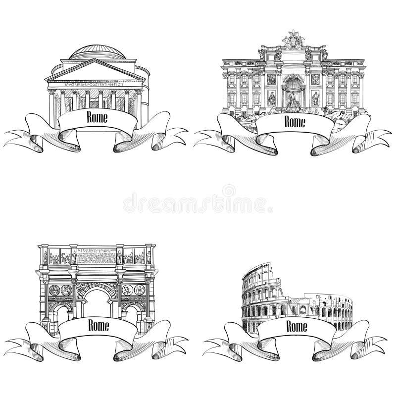 罗马citiy著名大厦:万神殿, Constantin的弧,喷泉 库存例证