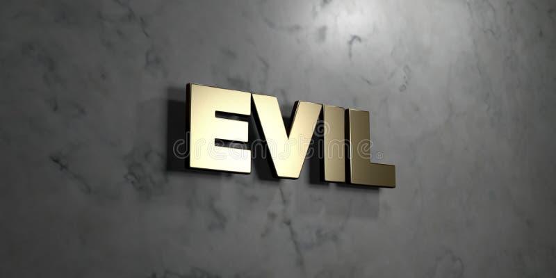 罪恶-在光滑的大理石墙壁登上的金标志- 3D回报了皇族自由储蓄例证 皇族释放例证