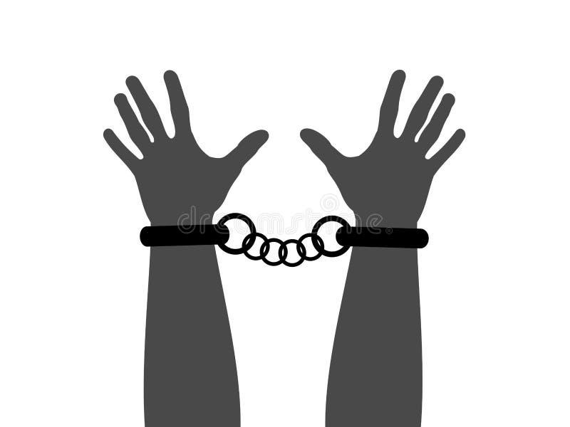 罪犯佩带袖口和手铐在腕子, 向量例证