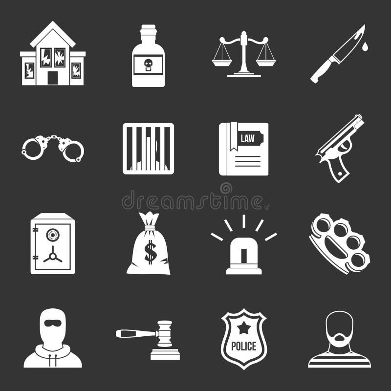 罪行和处罚象被设置的灰色传染媒介 库存例证