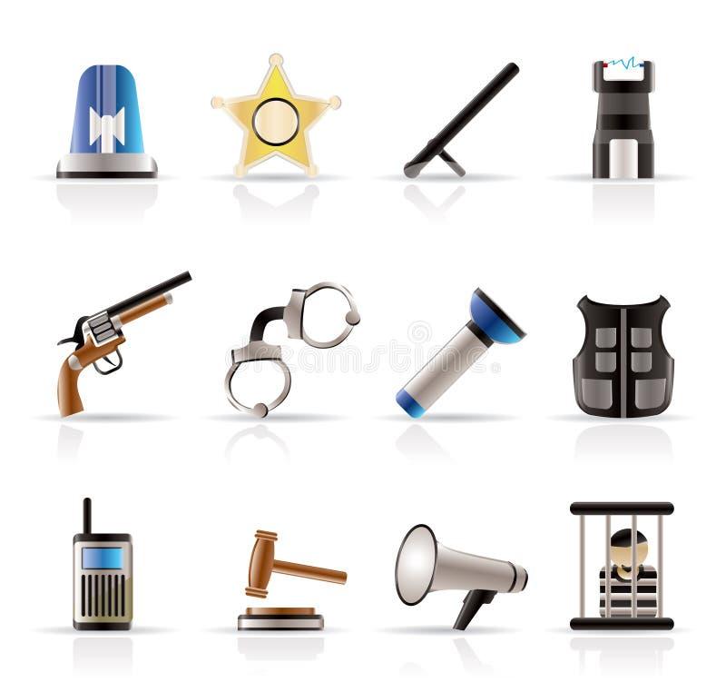 罪行图标法律顺序警察 向量例证