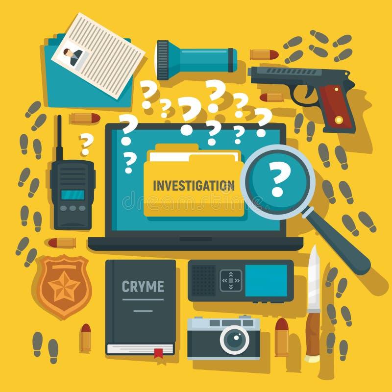 罪行调查概念背景,平的样式 库存例证