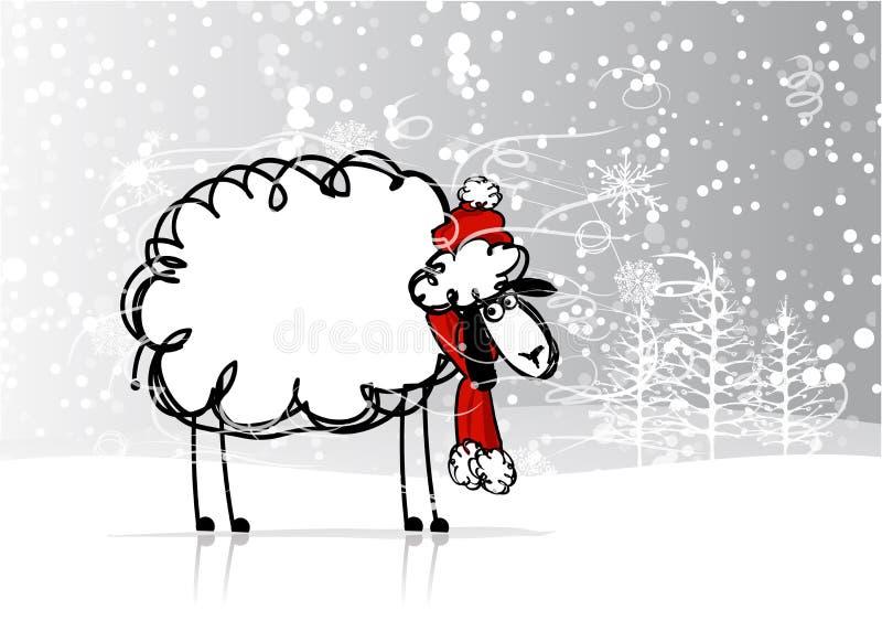 绵羊圣诞老人在森林,新年的标志里2015年 皇族释放例证