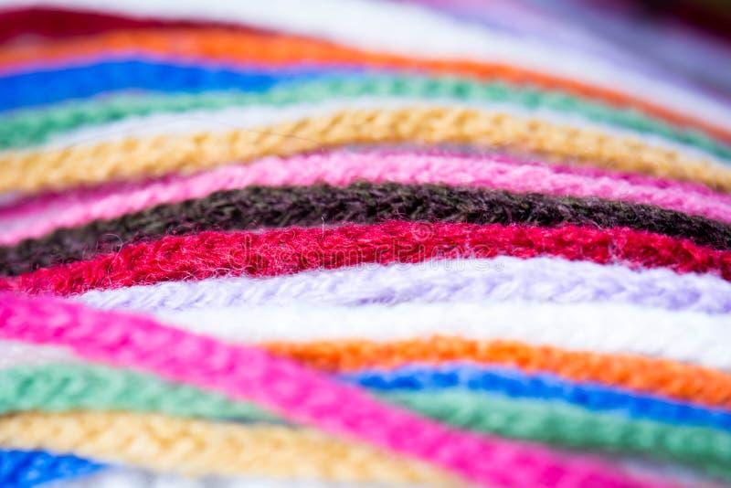 羊毛五颜六色的围巾 库存照片