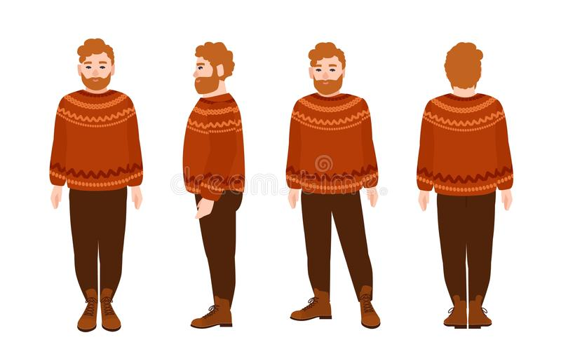 羊毛套头衫的壮健有胡子的红头发人人 与红色头发的肥胖男性穿被编织的毛线衣的漫画人物和胡子 皇族释放例证