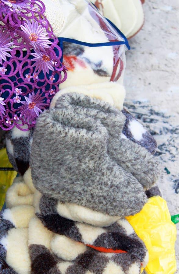 羊毛拖鞋或插页在起动在市场上 库存图片