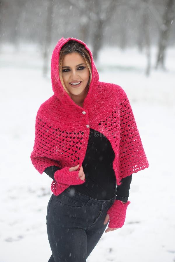 羊毛毛线衣和盖帽的女孩,享受降雪 库存图片