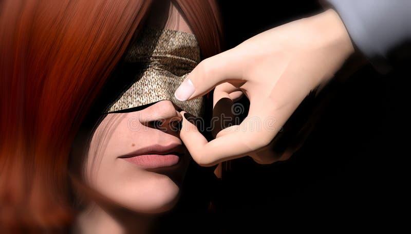 羊毛被拉扯在她的眼睛 皇族释放例证