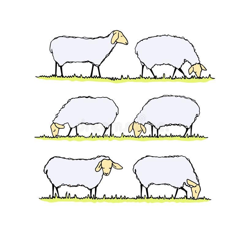 绵羊牧群例证 皇族释放例证