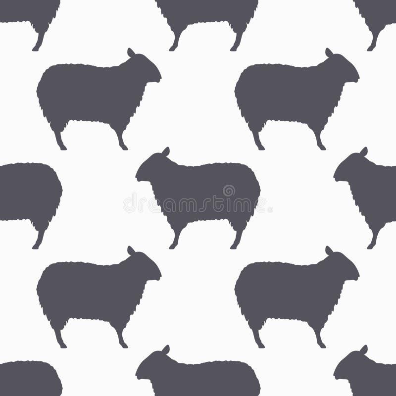 绵羊现出轮廓无缝的样式 羊羔肉背景 皇族释放例证