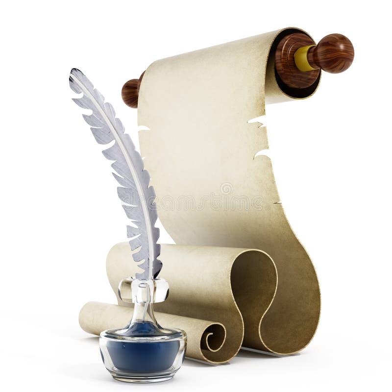 Download 羊皮纸、纤管和墨水 库存例证. 插画 包括有 墨水池, 原稿, 空白的, 艺术, 背包, 文字, 文件, 书法 - 62532042