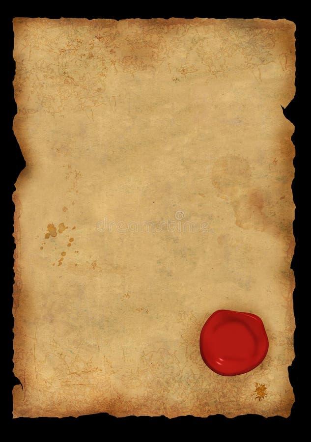 羊皮纸密封海豹捕猎页蜡 免版税库存图片