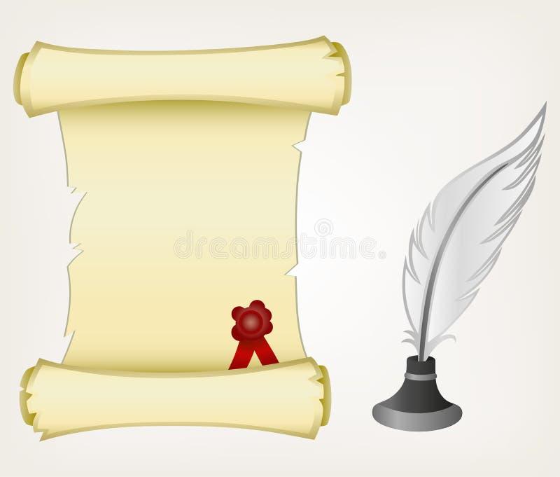 羊皮纸滚动和羽毛 库存例证