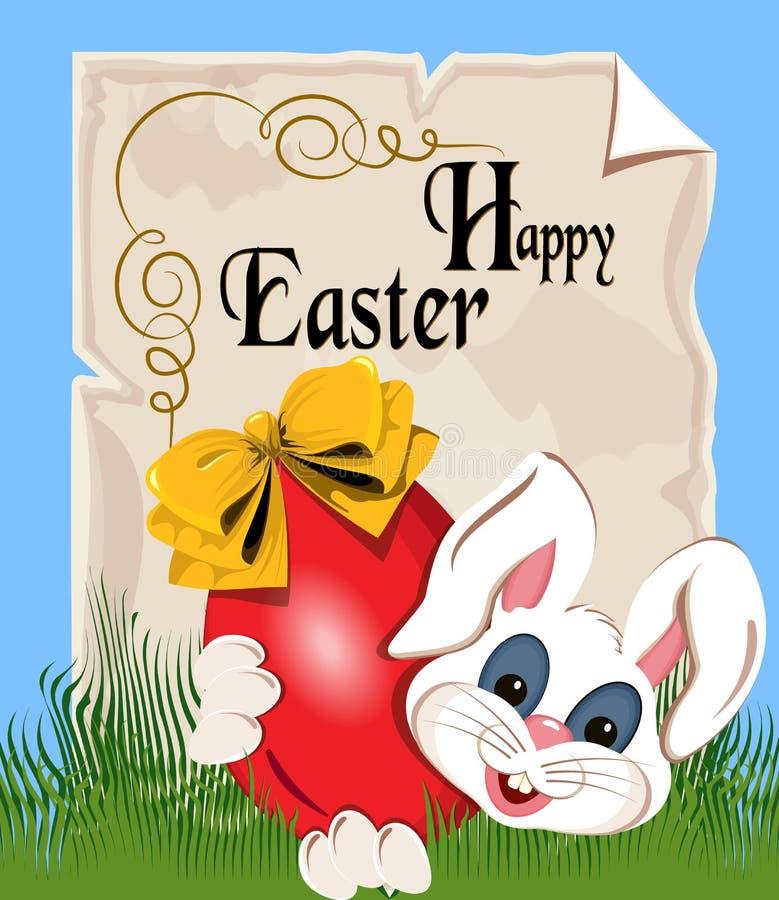 羊皮纸纸卷与题字复活节快乐的 从复活节兔的信件 库存图片