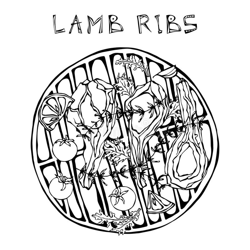 羊羔取笑剁用草本,柠檬,蕃茄,荷兰芹,麝香草,胡椒 在圆的格栅BBQ上 肉店或牛排的Hous肉指南 库存例证