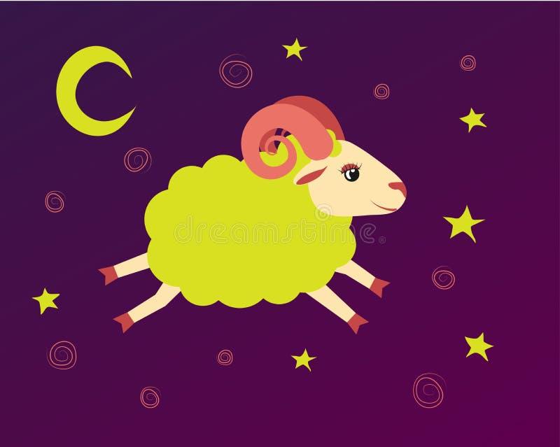 羊羔在满天星斗的天空飞行在星之间 例证催眠曲和上床时间的羊鸣标志 向量例证