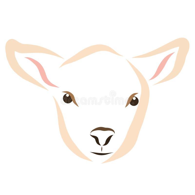 羊羔或小牛的头 向量例证